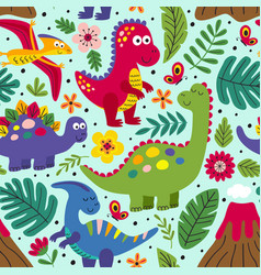blue seamless pattern with cute dinosaurs vector image
