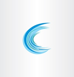 Blue water wave letter c icon vector