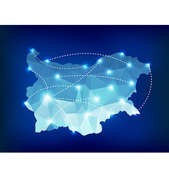 Bulgaria country map polygonal with spot lights vector