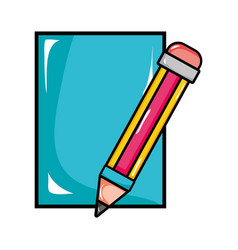 Cardboard object with pencil utensil design vector