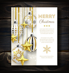 christmas background with shining stars snow and vector image