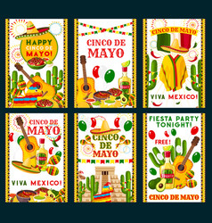 Cinco de mayo mexican greeting cards vector