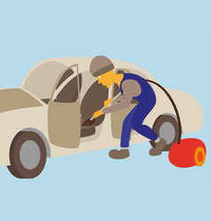 Cleaning car interior worker making use vector