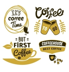 Coffee Logos With Quotes Set vector