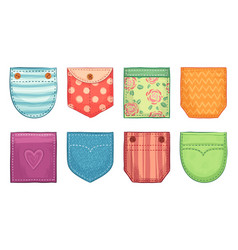 Color patch pockets comfort pocket patches vector