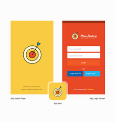 Company dart splash screen and login page design vector
