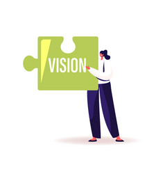 Core values concept tiny businesswoman holding vector