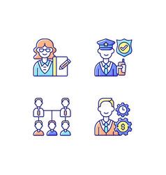 Corporation hierarchy rgb color icons set vector