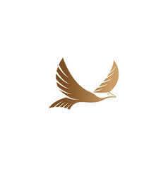 creative flying golden eagle logo vector image