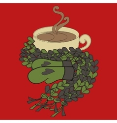 Cup of cocoa and a scarf vector