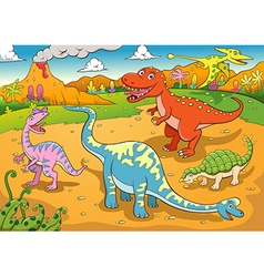 Cute dinosaurs cartoon vector