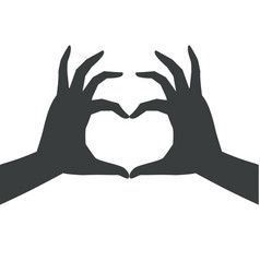 dark silhouette heart shaped hand anime manga vector image