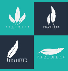 Design of logos with feathers templates for vector
