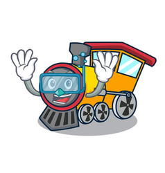 diving train character cartoon style vector image