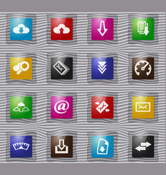 download glass icons set vector image