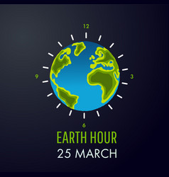 earth hour 25 march vector image