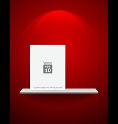 Empty white shelf on red wallpaper vector