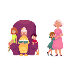 Flat grandparents and children set vector