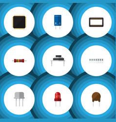flat icon electronics set of memory transistor vector image