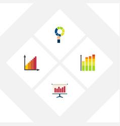 Flat icon graph set of pie bar monitoring graph vector