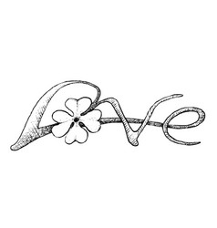 four leaf clovers with love sign vector image