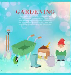 gardening tools for garden work watering pot vector image