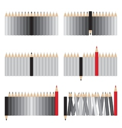 Gray and red pencils vector