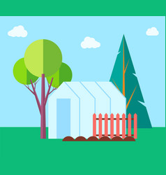 greenhouse hothouse and trees vector image