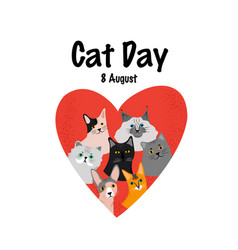 Greeting card with text cat day 8 august vector