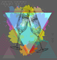 Hand drawing of champagne clinking glasses vector