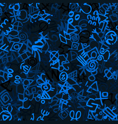 Hand drawn seamless pattern with glyphs vector