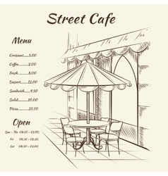 Hand drawn street cafe background vector