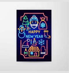 happy new year neon flyer vector image