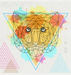 Hipster polygonal animal tiger on artistic vector