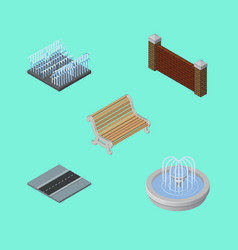 isometric urban set of park decoration seat path vector image