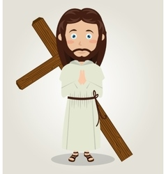 Jesus christ carrying cross in back design vector