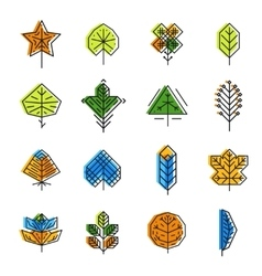Leaf icon set in line style vector image
