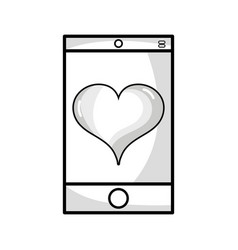 Line smartphone technology with heart love design vector