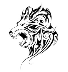 lion head tribal tattoo vector image