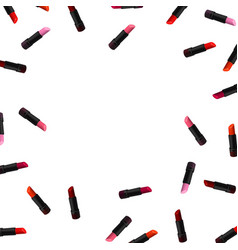 Lipstick border on white background beauty vector