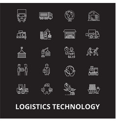 logistics technology editable line icons vector image