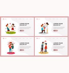 love website landing page flat set vector image