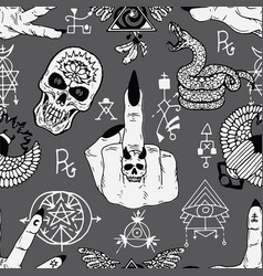 Magician fingers off symbol and skull vector
