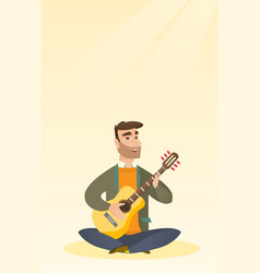 Man playing the acoustic guitar vector