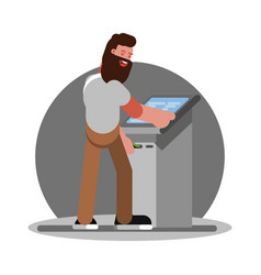 man using atm vector image