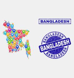 Map pins mosaic bangladesh map and distress vector