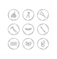 medical mask pills and dental pliers icons vector image