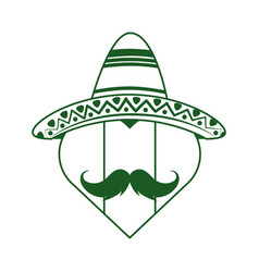 mexican flag shaped heart with hat and mustache vector image