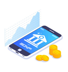 mobile banking isometric concept currency rate vector image