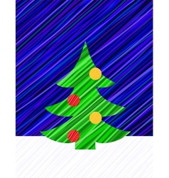 New year card with decorated firtree vector